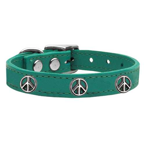 Peace Sign Widget Genuine Leather Dog Collar Jade 14