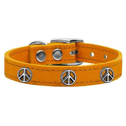 Peace Sign Widget Genuine Leather Dog Collar Mandarin 26