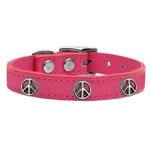 Peace Sign Widget Genuine Leather Dog Collar Pink 12