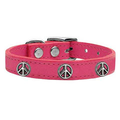Peace Sign Widget Genuine Leather Dog Collar Pink 26