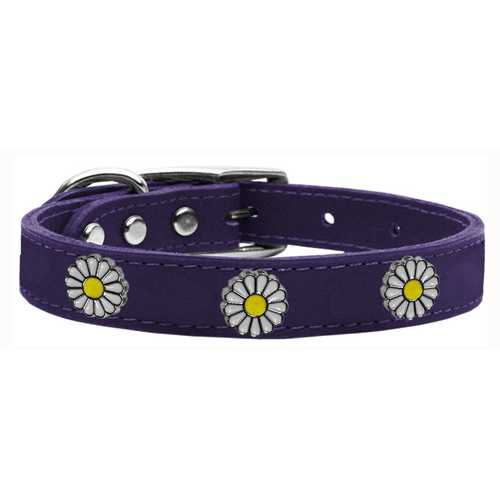 White Daisy Widget Genuine Leather Dog Collar Purple 12