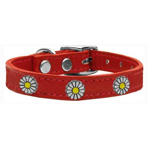 White Daisy Widget Genuine Leather Dog Collar Red 12