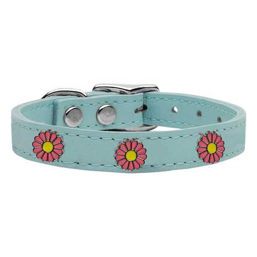 Pink Daisy Widget Genuine Leather Dog Collar Baby Blue 16