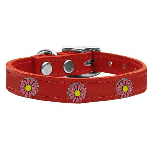 Pink Daisy Widget Genuine Leather Dog Collar Red 12