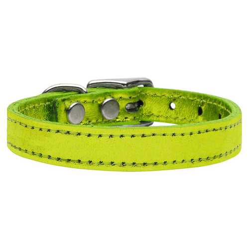 Plain Metallic Leather Lime Green 24