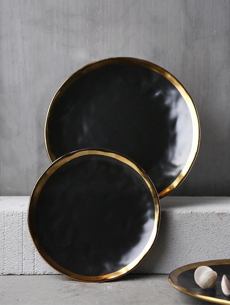 Pearl Black with Gold Inlay Plate Set