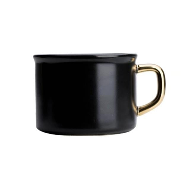 Black Ceramic Mug with Gold Grip