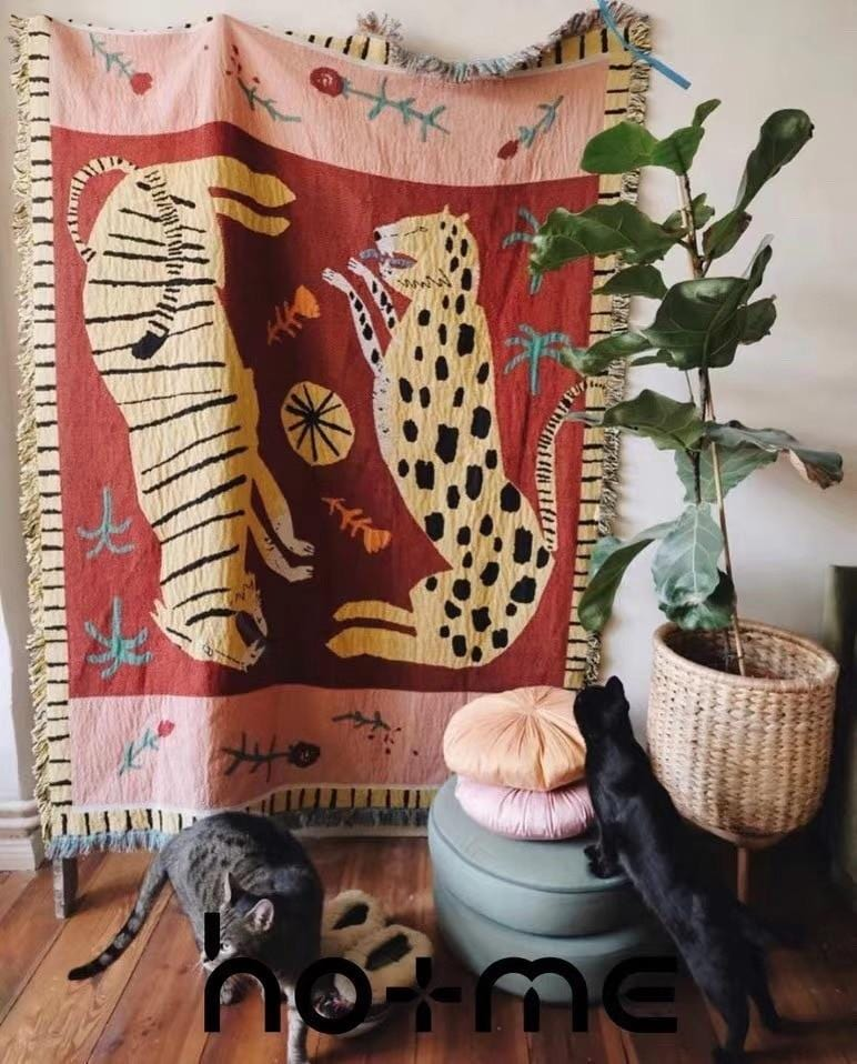 Tiger & Cheetah Tapestry Rug