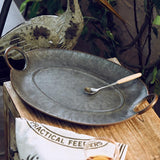 Vintage Metal Bread Tray with Circular Handle