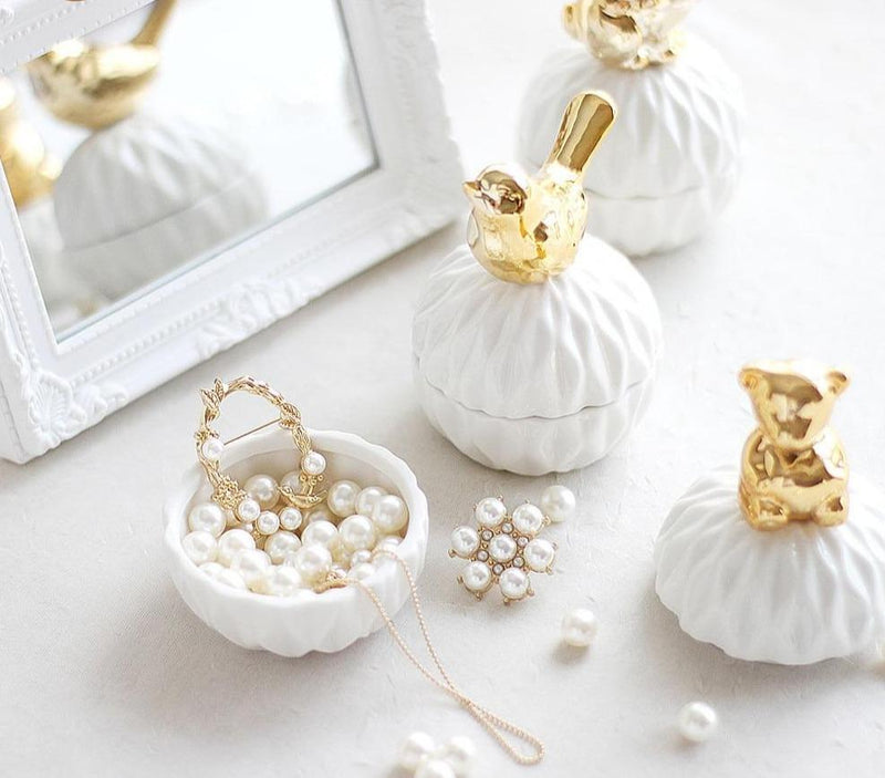 White and Gold Porcelain Jewelry Box
