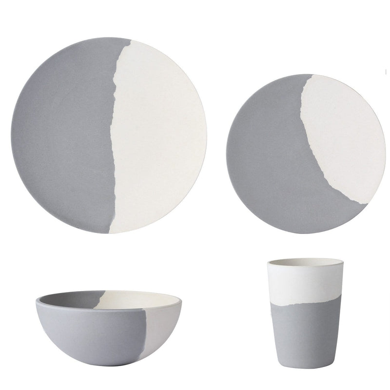 Bamboo Fiber Dinnerware Set (Gray and White)