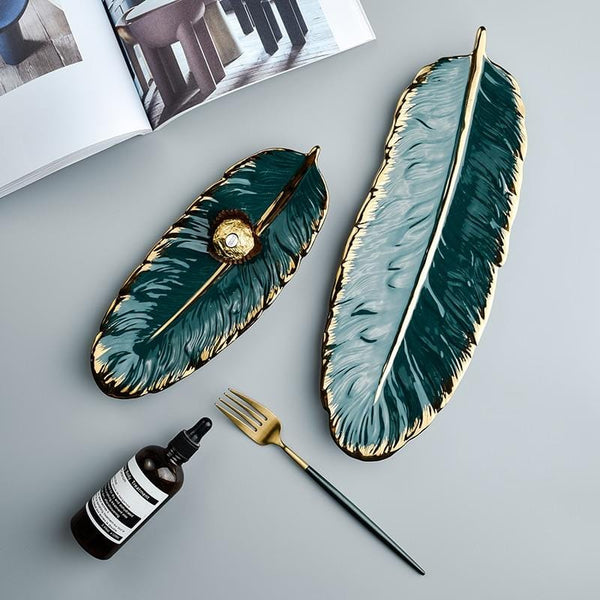 Gold Rim Feather Tray