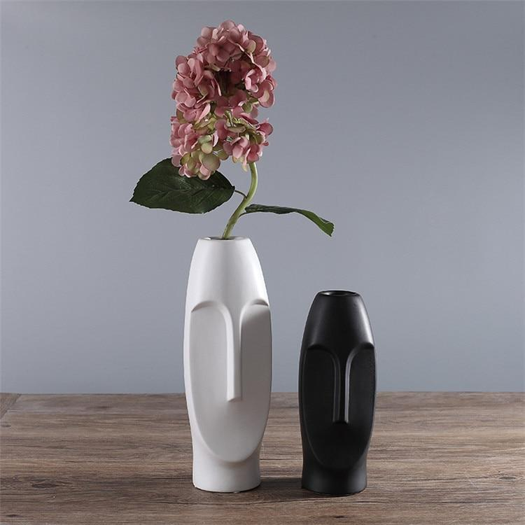 Monochrome Abstract Face Vase
