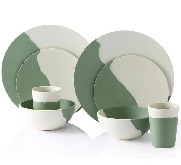 Bamboo Fiber Dinnerware Set (Green and White)