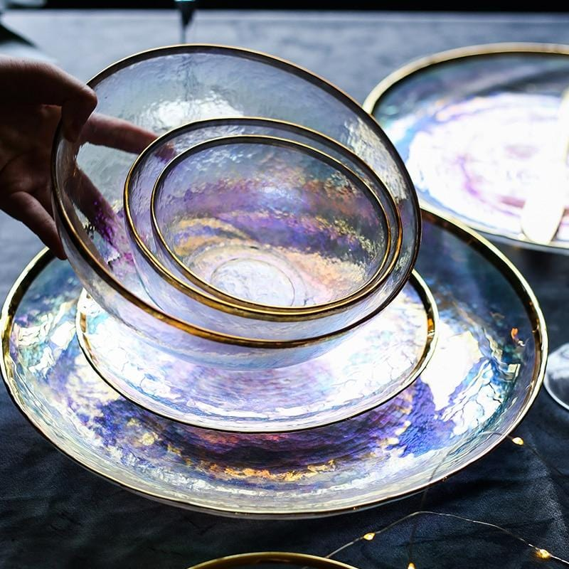 Iridescent and Gold-Lined Salad Plate Collection