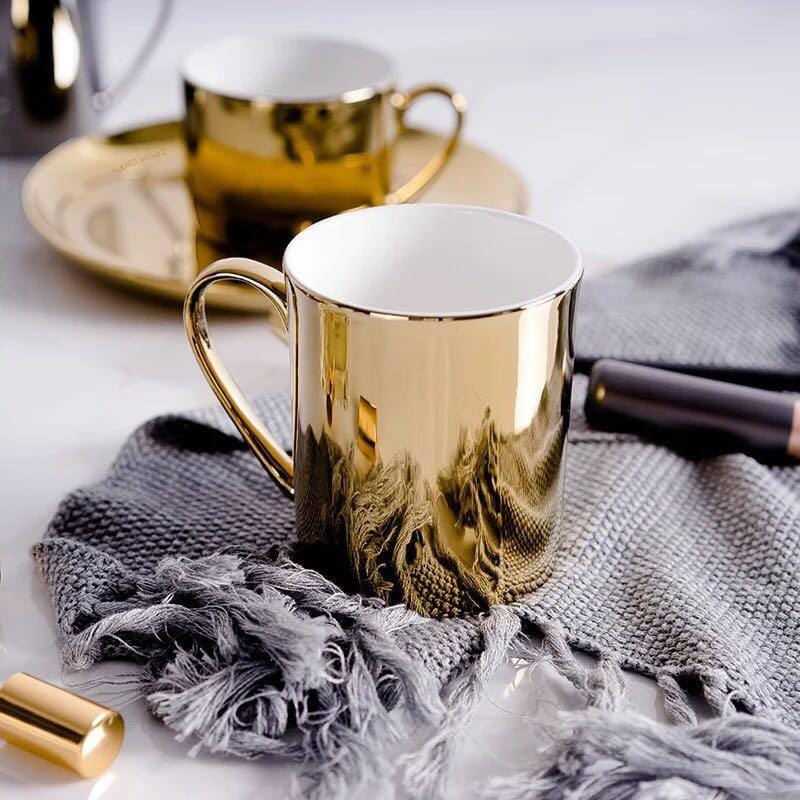 Gold/Silver Ceramic Coffee Mug and Dinner Plate Set