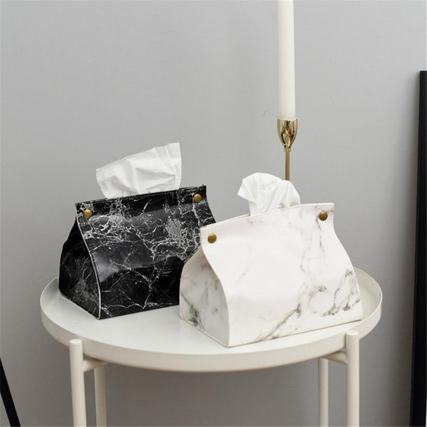 Vegan Leather Marble Tissue Holder