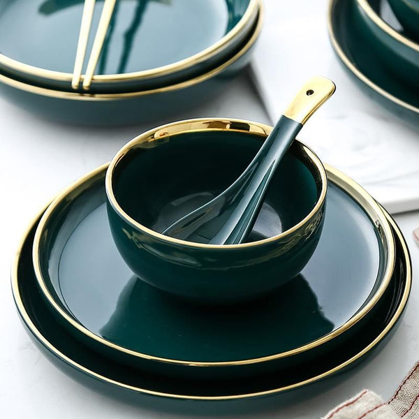 Dark Turquoise with Gold Inlay Tableware Collection (Gloss)