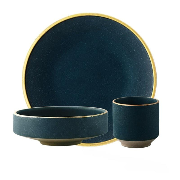 Dark Turquoise with Gold Inlay Tableware Collection (Matte)