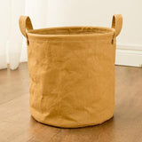 Washed Leather Laundry Basket
