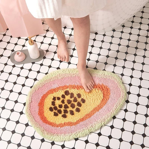 Fluffy Papaya Bathroom Rug