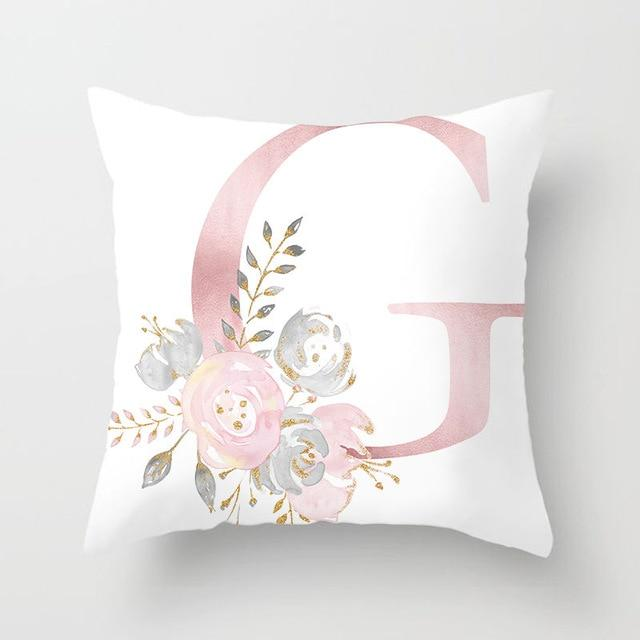 Pink Floral Letter Cushion Cover