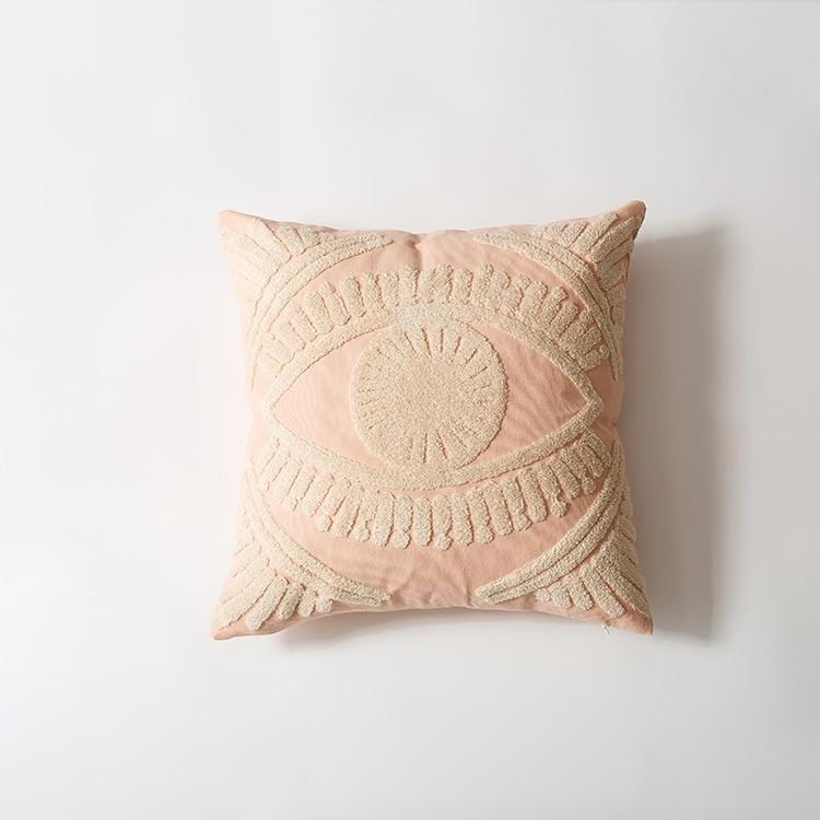 Ivory Eye Embroidery Cotton Cushion Cover