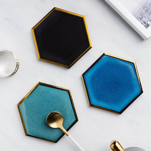 Gold-Lined Hexagonal Coaster