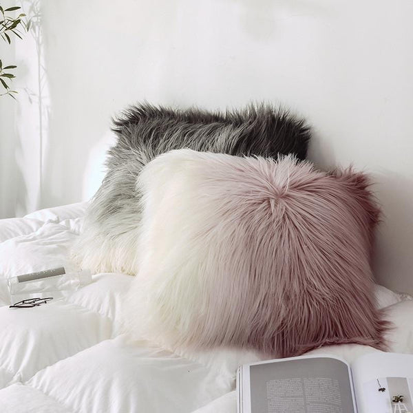 Dreamy Gradient Faux Fur Cushion Cover