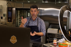 Chef Danny Boome teaches live virtual interactive cooking lessons