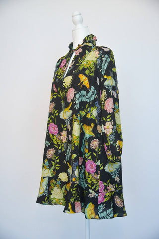 Vilshenko Black Floral Print Dress
