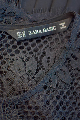 Zara Black Lace Pleated Midi Dress