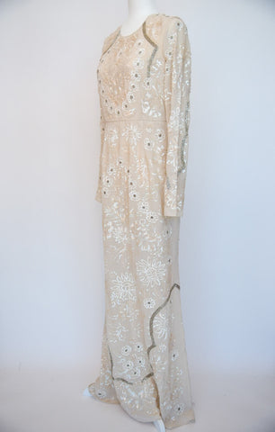 Needle and Thread Cream Sequin Gown