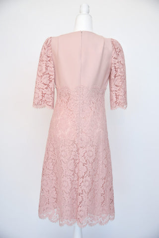 Valentino Blush Colored Lace and Wool Dress