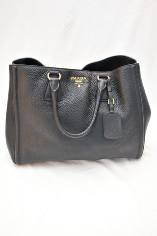 Prada Top Handle Black Leather Bag with Gold Hardware