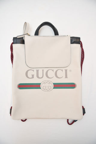 Gucci White Leather Backpack
