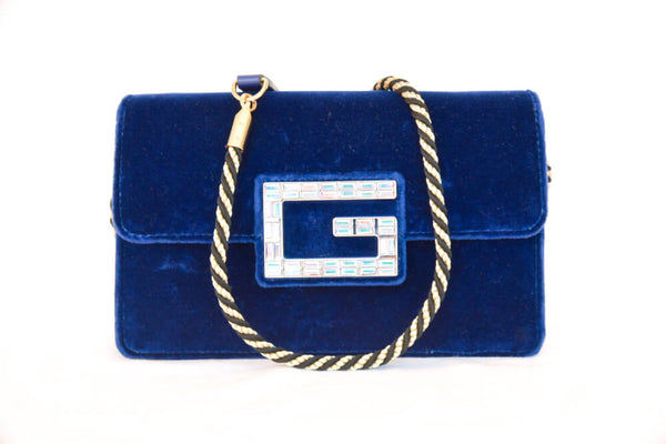 Gucci Broadway Velvet Shoulder Bag with Jeweled G (Blue)