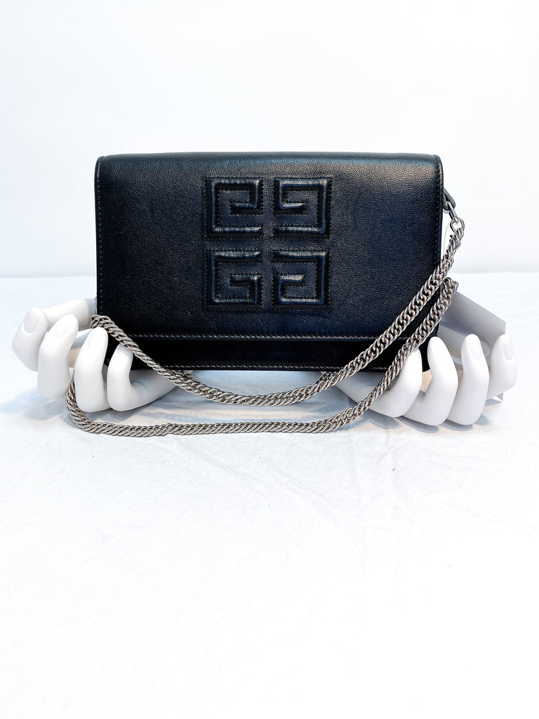 Givenchy Black Leather Wallet on a Chain with Silver Hardware 4 G