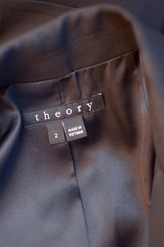 Theory Black Blazer with Side Pleated Detail