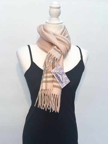 Burberry Pink Plaid 100% Cashmere Fringed Scarf