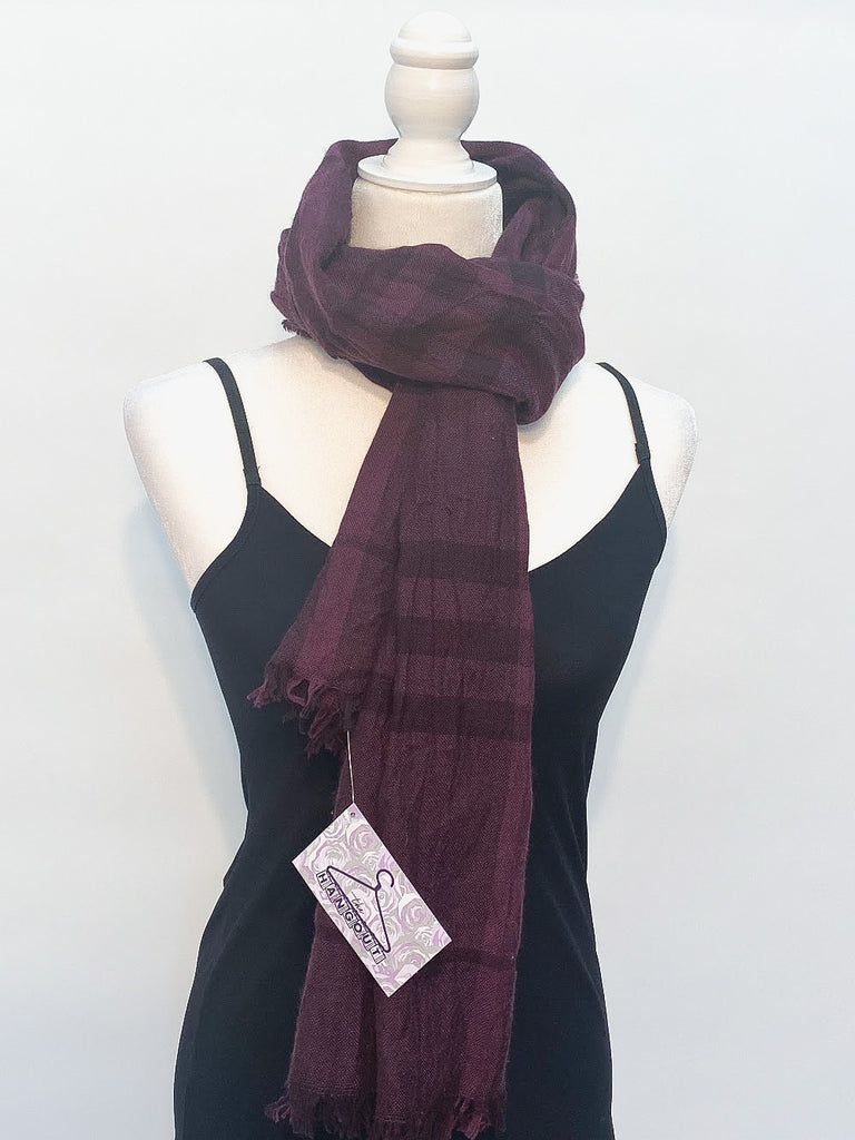 Burberry Purple Plaid Chambray Summer Scarf