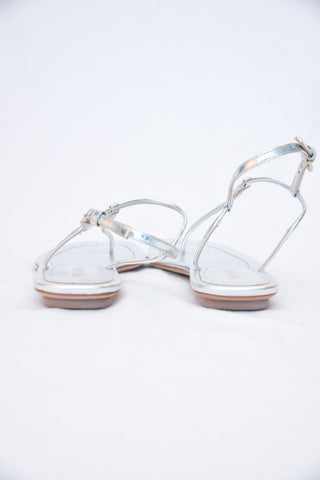 Prada Flat Metallic Leather T-Strap Sandal