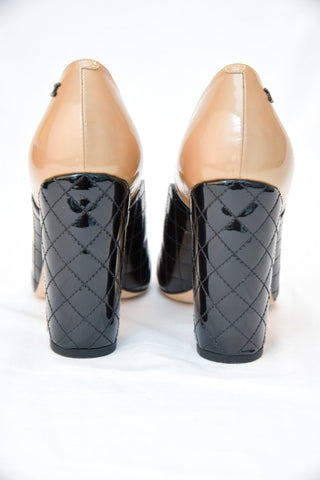Chanel Patent Leather Two Toned Quilted Heel