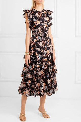 Anna Mason- Rufflete Tiered Floral- print cotton poplin midi dress