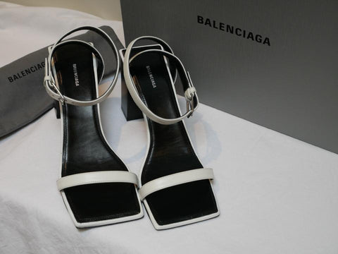 Balenciaga Double Strap Square Buffed Calfskin White