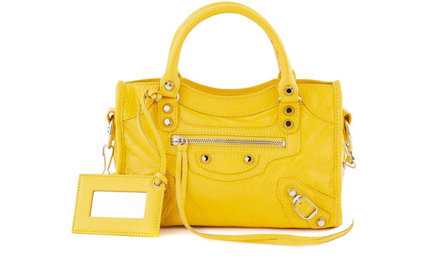 Balenciaga Yellow Classic Mini City Shoulder Bag