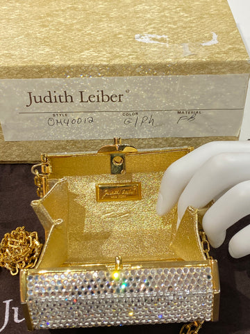 Vintage: Judith Leiber Crystal Petite Treasure Chest Shape Purse Shoulder Bag