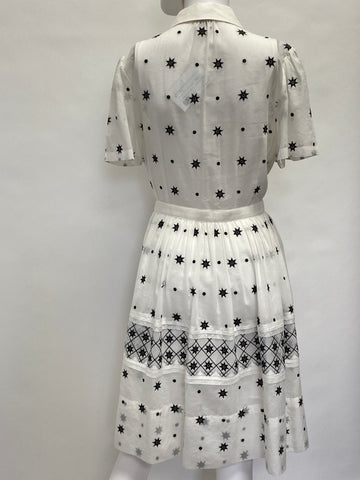 Temperley London White Short Sleeve Dress Button Front