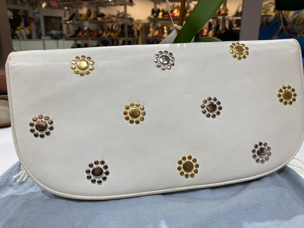 Vintage: Judith Leiber white Leather oversized clutch with Gold and Silver Decor