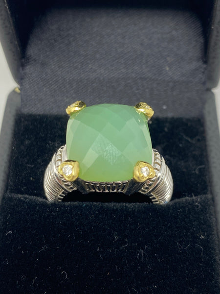 Judith Ripka Ring with Turquoise Stone and Diamonds